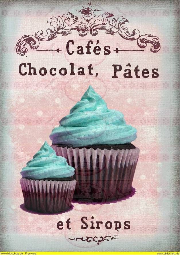 Vintage Shabby Bügelbild Cupcake Muffin blau