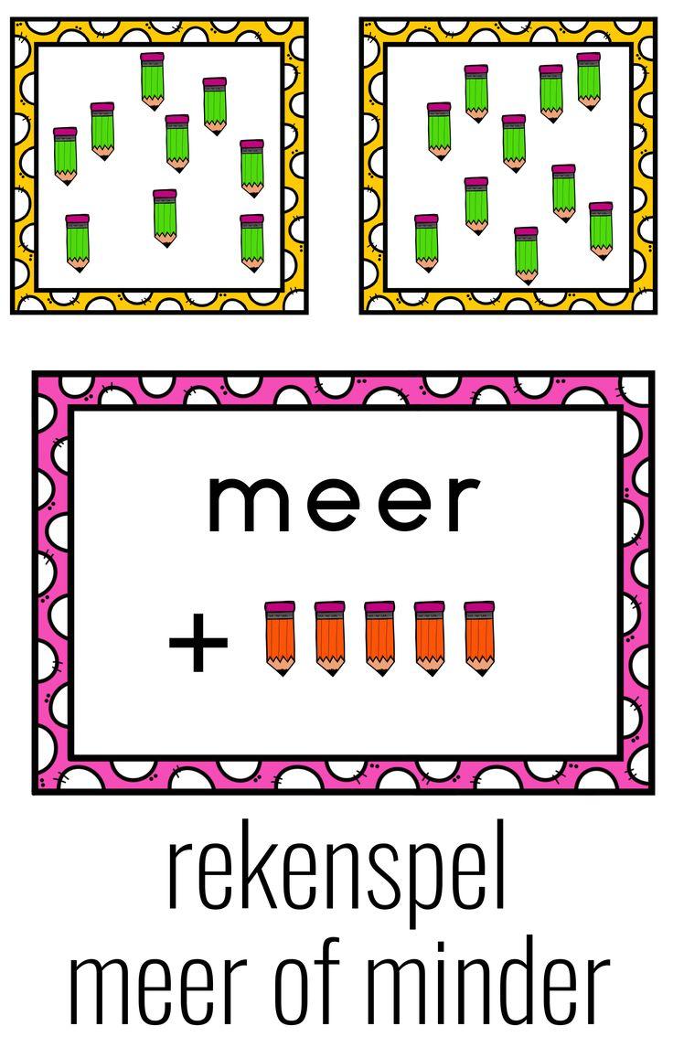 Doel van het spel Met dit spelworden hoeveelheden geordendm.b.v. begrippen meer, minder, evenveel. Benodigdheden – grote kaarten meer, minder, evenveel – telkaartjes met potloden Spelregels – in het midden worden de drie paarse kaarten neergelegd. Hieronder komen de telkaartjes. Deze worden onderverdeeld in minder dan 5, meer dan 5, evenveel als 5. – De kinderen pakken om de beurt een telkaartje en kijken onder welke paarse kaart hij hoort.