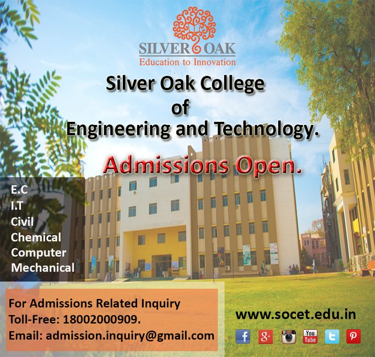 ADMISSIONS OPEN @ Silver Oak College Of Engineering & Technology .  SOCET is located in prime location of Ahmedabad . Location : 352,353 A , Nr. Bhavik Publications, Opp. Bhagwat Vidyapith, S.G.Highway, Ahmedabad- 382481.  For Admission related inquiry or queries.  Call our Toll-Free Number : 18002000909. Email us @: admission.inquiry@gmail.com You can also message us, we will get back to you as soon as possible.