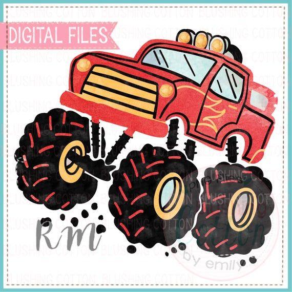 Red Monster Truck Watercolor Png Artwork Digital File For Etsy Monster Trucks Artwork Digital Watercolor
