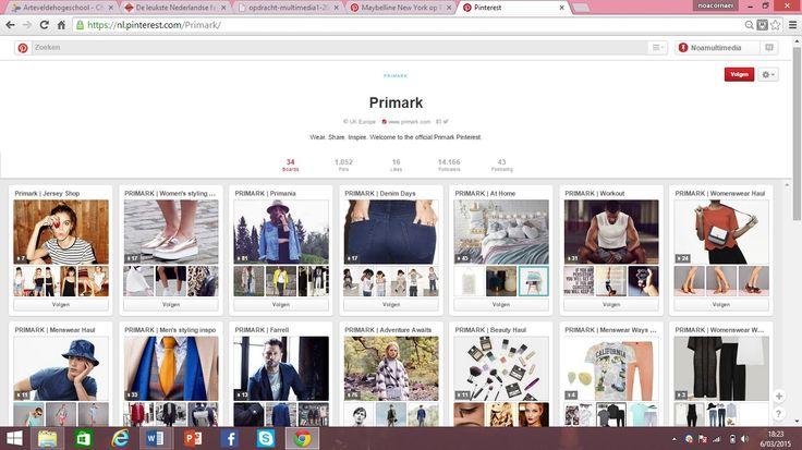De goedkope winkelketen Primark gebruikt Pinterest voor hun volledige collectie. Voor elk soort product is er een verschillend bord aangemaakt. Zo heb je een bord voor mannen, vrouwen, jeans, at home, workout, beauty, ... Door de beelden op Pinterest krijg je een goede kijk op wat er allemaal in de winkel hangt, aangezien de winkel geen online shop heeft. https://nl.pinterest.com/Primark/