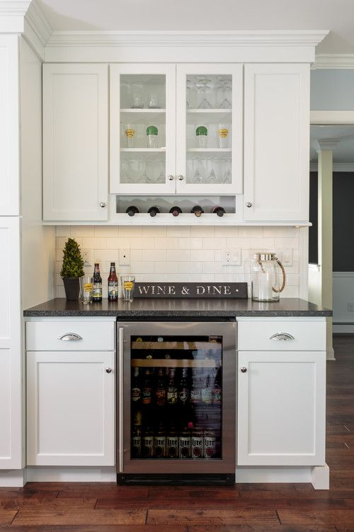 Bar Area Off #Kitchen With Beverage Center. #Bar Off Kitchen With #White  Cabinetry And Leather Silver Pearl Granite.