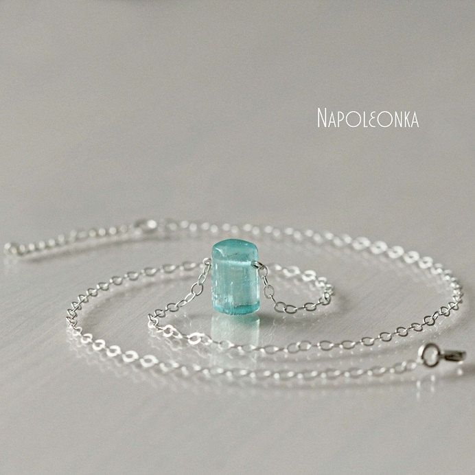 Natural aquamarine on a silver chain Natural beryl Aquamarine crystal Pendant on chain Short necklace Gemstone necklace Beautiful necklace by Napoleonka on Etsy