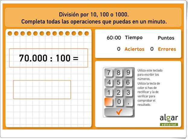 """""""División por 10, 100 o 1000"""" (Matemáticas de 4º y 5º de Primaria)"""