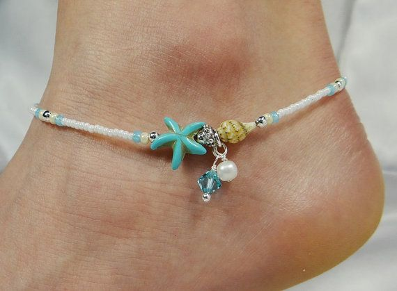 Anklet Ankle Bracelet Blue Starfish Anklet by ABeadApartJewelry