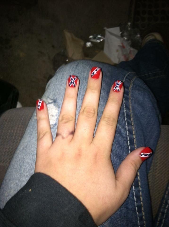 Rebel flag acrylic nails
