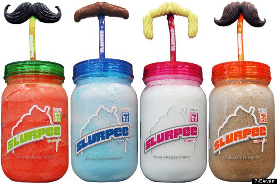 All summer long, 7-Eleven is offering Slurpee cups in the shape of mason jars that feature four different types of mustache straws. And they...