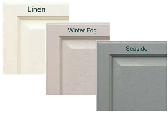 Cabinet Paint - Linen up top, winter fog on bottom and a more blue version of seaside on the walls.