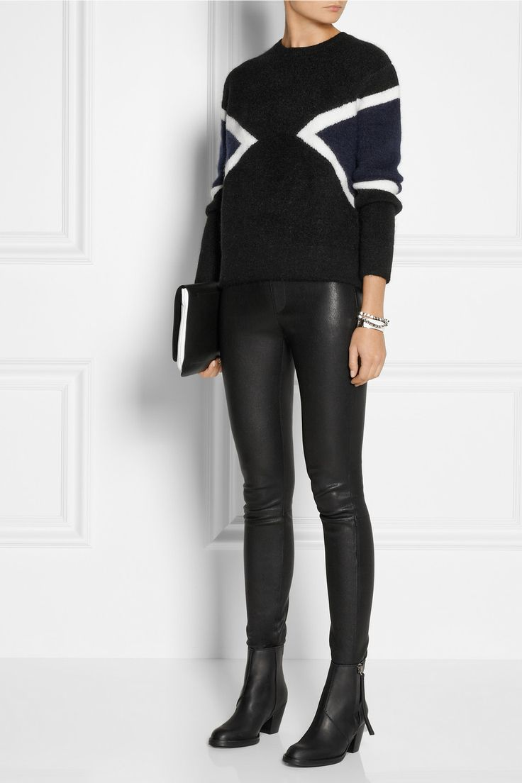 Neil Barrett | Color-block knitted sweater, Helmut Lang pants, Acne boots, and Joseph Clutch
