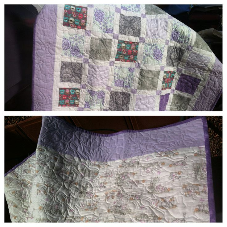 purple, lilac, and grey flannel makes this crib quilt