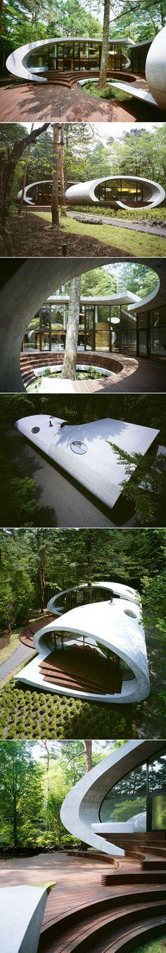 Voici la maison Shell située à Karuizawa au Japon, nous devons cette habitation à l'architecte japonais Kotaro Ide du studio Artechnic. Nichée dans une épaisse forêt, cette maison inspirée de formes naturelles marines donne l'illusion de flotter dans la végétation dense environnante.