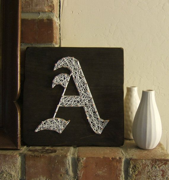 Modern String Art Wooden Tablet  Old English Letter by NineRed, $25.00