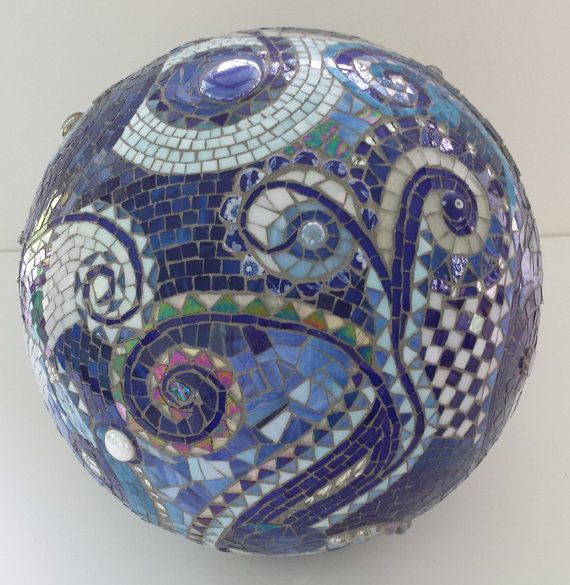 mosaic orb blue gazing ball garden terracotta stained glass spiral checkered cobalt copper marble