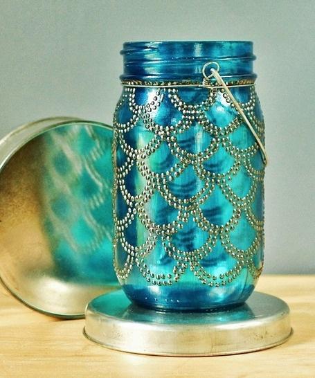 Sea Glass Mason Lantern with Gunmetal Accents