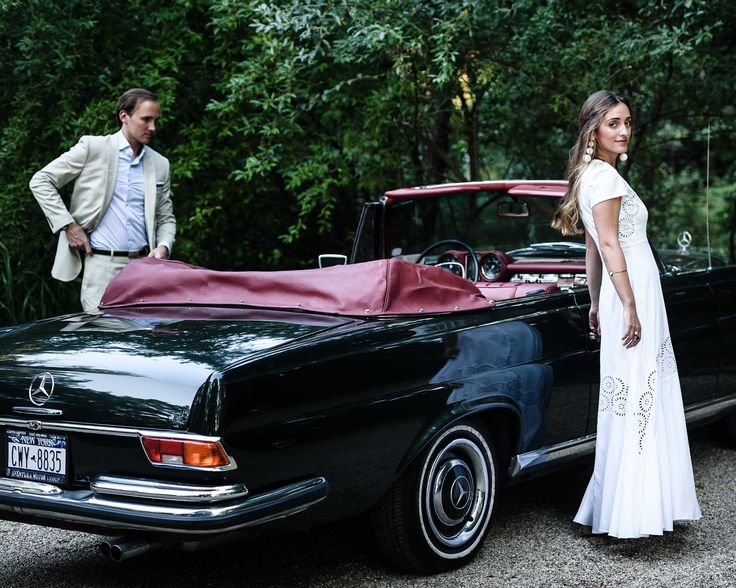 En route to the welcome party on Friday evening. I selected a simple Stella McCartney dress with eyelet detailing for the occasion. Maxi surprised me with this 1967 convertible, borrowed for the wedding weekend. It had belonged to his father when he lived in the States.