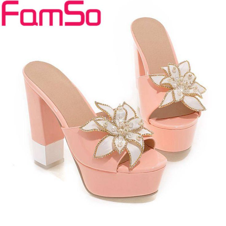 Plus Size34-43 2017 New Summer Slides Shoes Flowers high Heels Platforms Pumps black Prom Shoes Summer Platforms Sandals PS1766