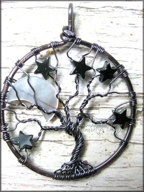 Moon and Stars Tree of Life Pendant - JEWELRY AND TRINKETS