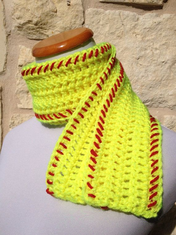 Softball Scarf Yellow Softball Scarf by SoftballStitch on Etsy, $19.49