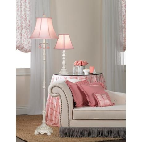 Cute Lamp! Pink Shade with White Candlestick Base