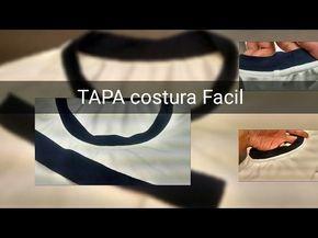 """Como poner el tapa costura en una playera cuello """"V"""" o cuello redondo - YouTube"""