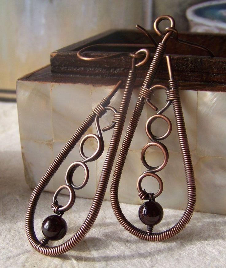 Copper and Garnet Wire Wrap Earrings by ~LiquidSilver1 on deviantART