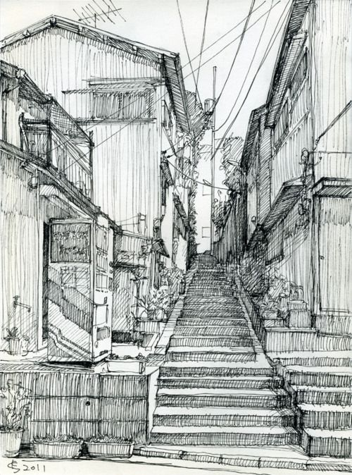 Back alley. Sketch by Suzuken