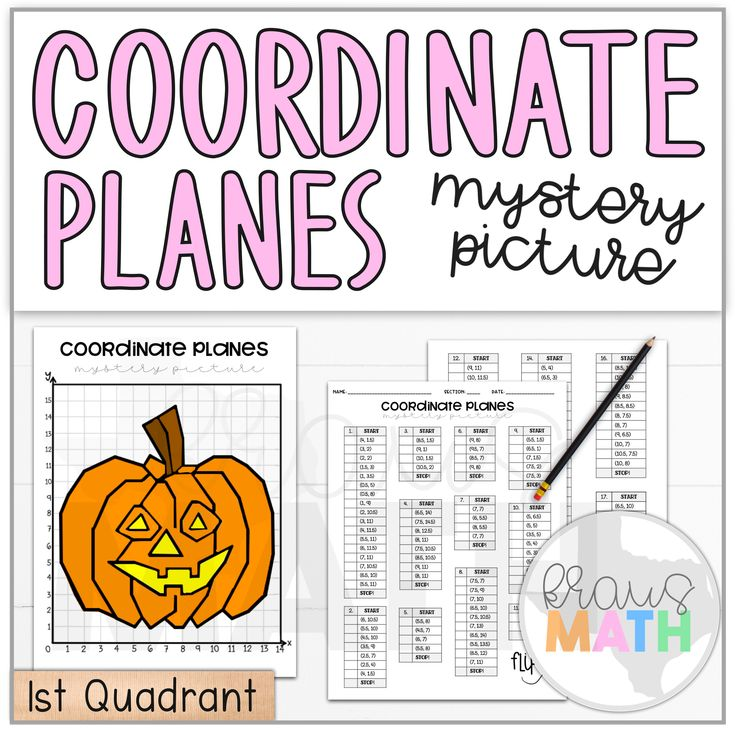 Halloween Pumpkin Coordinate Plane Mystery Picture 1st