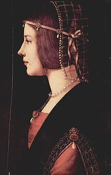 """Beatrice d'Este, duchess of Bari and later of Milan, was the wife of the Milanese ruler Ludovico Sforza (known as """"il Moro""""). She was one of the most beautiful and accomplished princesses of the Italian Renaissance. A member of the Este family, she was the younger daughter of Ercole I d'Este and the sister of Isabella d'Este and Alfonso d'Este. Along with her sister, Beatrice was noted for her excellent taste in fashion and for having invented new clothing styles."""