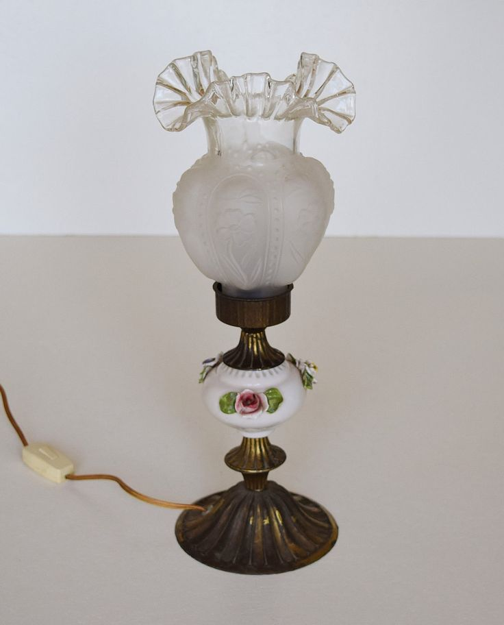 Vintage Brass Porcelain Table Lamp with a Glass Shade Made ...