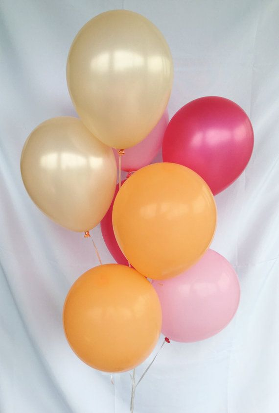 Pink Peach Hot Pink Orange Latex Balloons Pink by OhhHowCharming