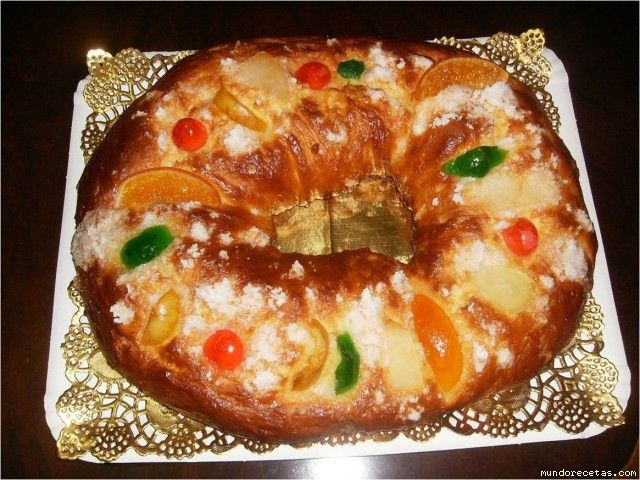 "Roscón de reyes 'kings' ring'   is traditionally eaten on January 6, in the Spanish speaking world to celebrate  the Día de Reyes or ""Kings' Day"",  commemorating the arrival of the  Magi or Wise Men.     For decoration, figs, quinces, cherries or dried and candied fruits are used. Traditionally a figurine of the Christ child is hidden in the bread to represent the flight of the Holy Family in to Egypt. Whoever finds the baby Jesus figurine is blessed and must take the figurine to the nearest…"