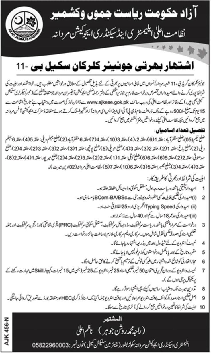 AJK Elementary and Secondary Education Department Jobs 2018