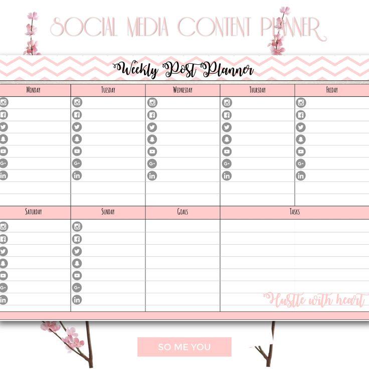 Weekly Planner Printable 2017 Plus BONUS Weekly Social Media Planner Schedule (no Icons) | Goals Tasks |