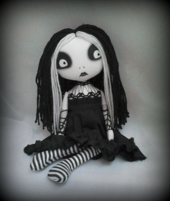 OOAK Gothic Art Rag Doll Clara 'RESERVED for by ChamberOfDolls