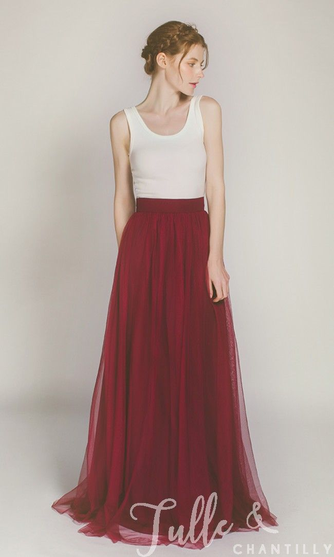 Long Tulle Skirt for Bridal Party TBQP346 click for 40+ colors