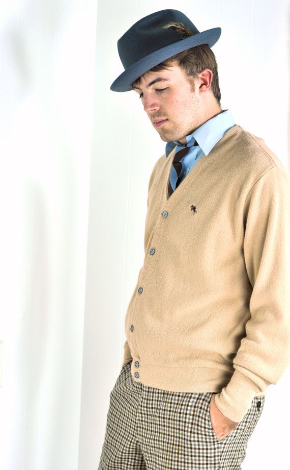 Vintage Men's Cardigan Sweater Light Brown by ArmorOfModernMen, $32.00