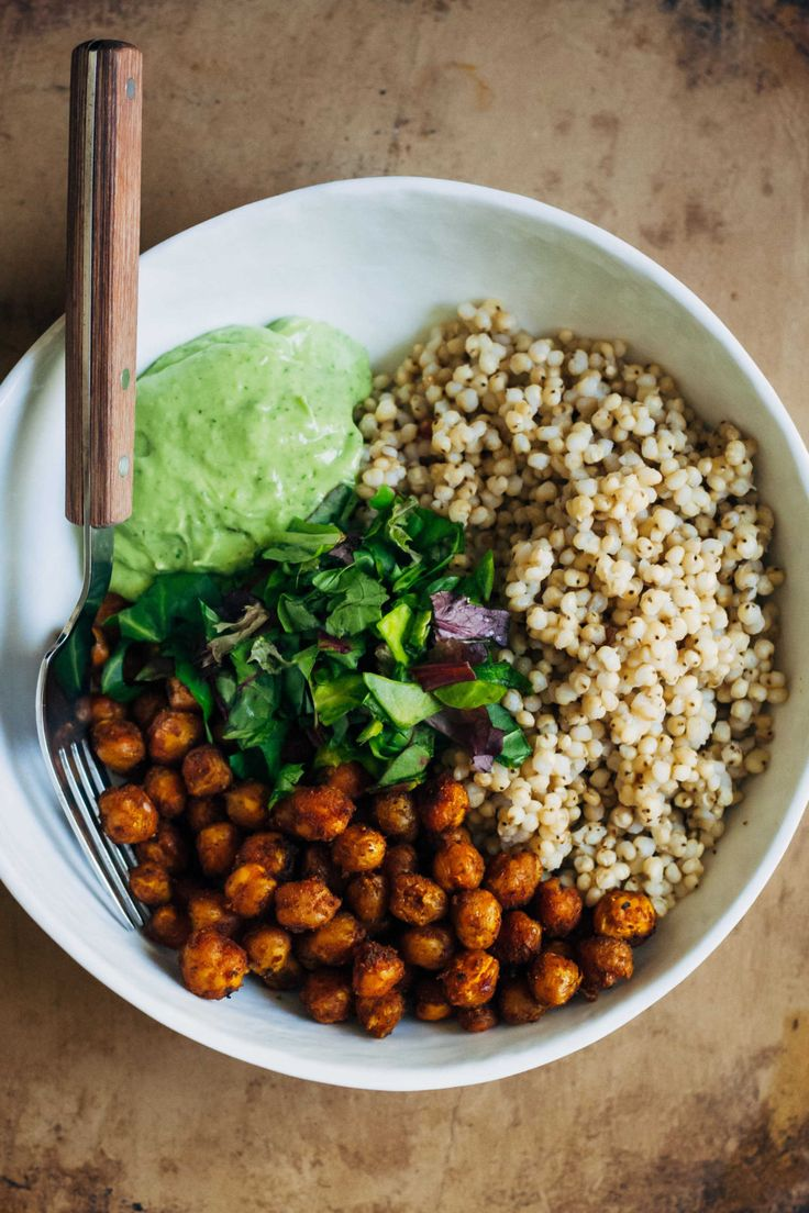 Vegan Buddha Bowl w/ Sorghum + Curry Chickpeas + Avocado Vinaigrette   Well and Full   #vegan #recipe