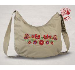 Szervető-matyó félhod táska - bézs, futómintás