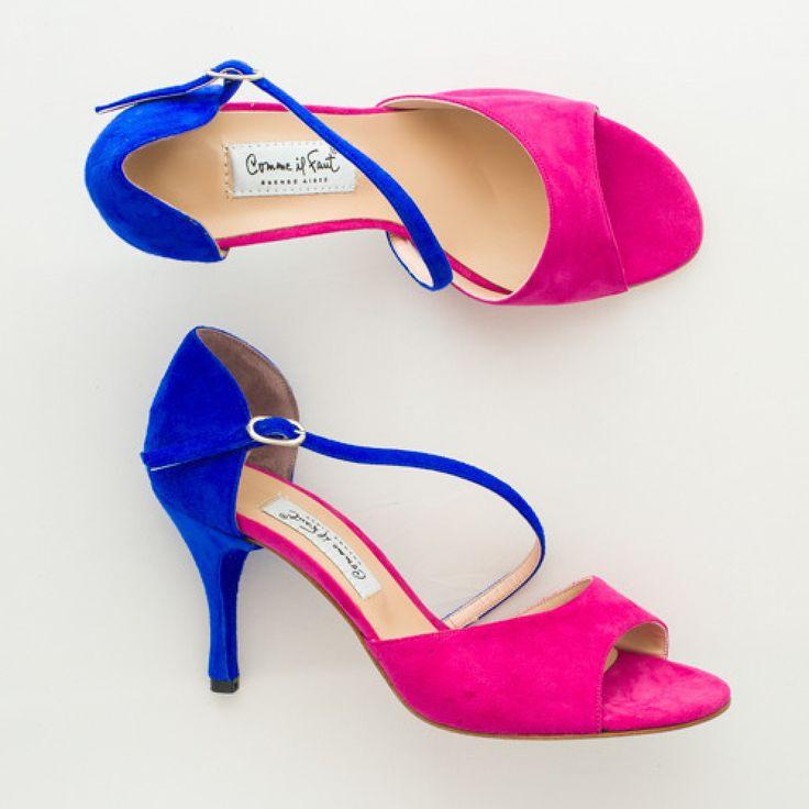 Comme il Faut Tango Shoes - Fucsia y azul size 39 (US 9) heel 7cm