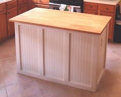 Diy Butcher Block Cabinet Bottom Island With Electric Outlet Made From Unfinished Kitchen Cabinets