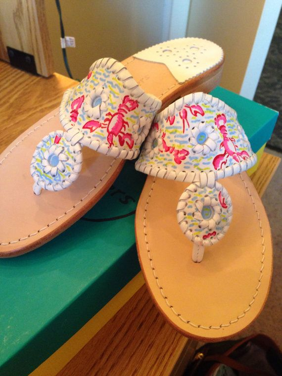 Lilly Pulitzer inspired print Jack Rogers hand by PeakePrints