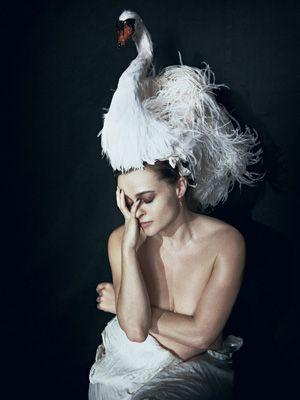 Helena Bonham Carter gives Bjork a run for her money in that costume