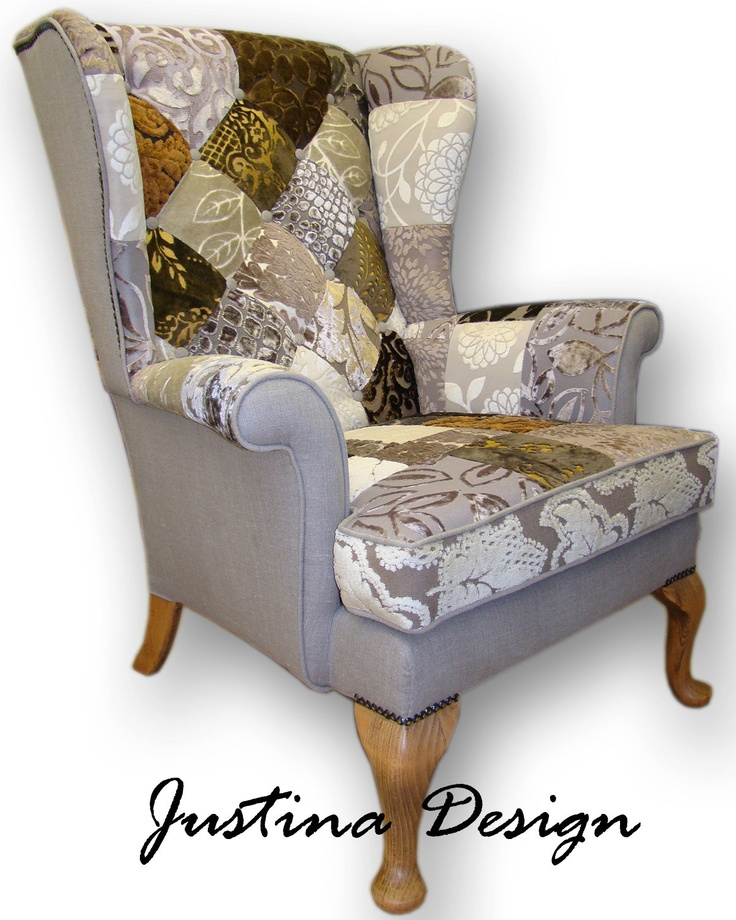 Patchwork wing back armchair in beige/brown Designers Guild velvets and natural linen. £599.00, via Etsy.