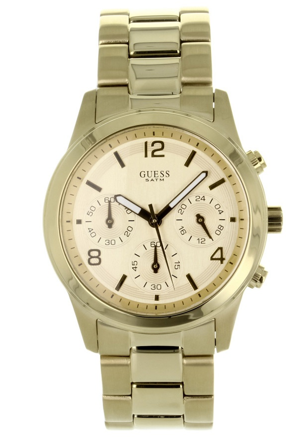 Price:$124.11 #watches Guess W13552L1, Stainless steel case, Stainless steel bracelet, Gold chronograph dial, Quartz movement, Scratch-resistant mineral, Water resistant up to 5ATM - 50 meters - 165 feet