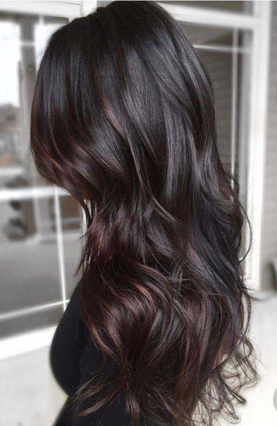 Dark brunette base with chocolate bayalage highlights