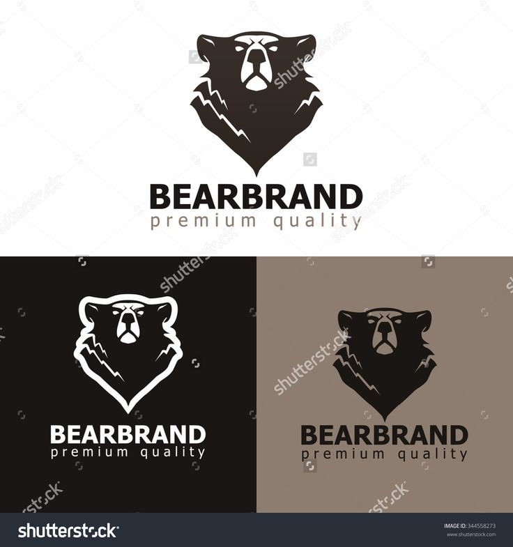 Vector illustration of bear. Grizzly bear silhouette design. Logo, label or mascot template.