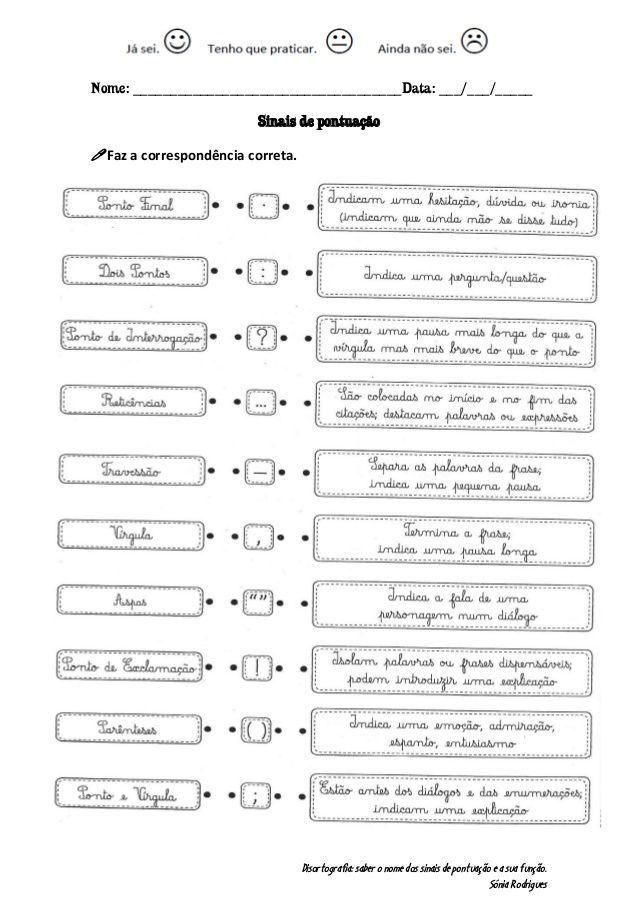 Disortografia: saber o nome dos sinais de pontuação e a sua função.  Sónia Rodrigues  Nome: ______________________________...