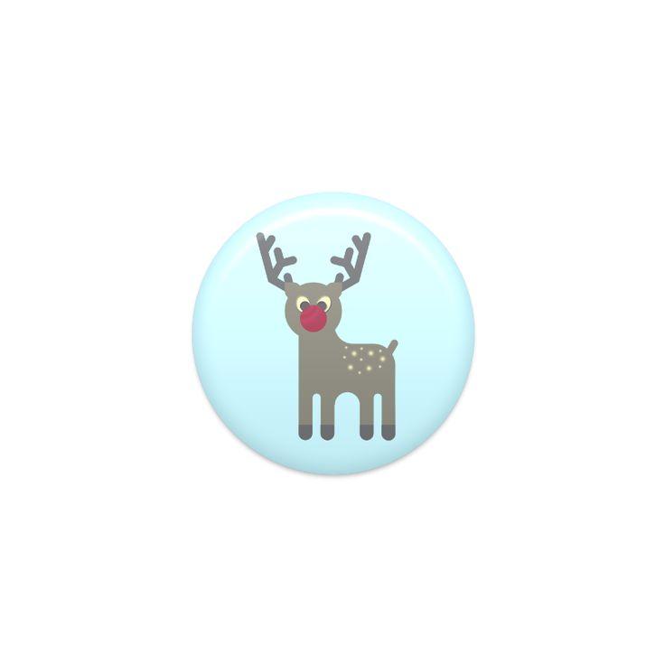 Red Nosed Reindeer Round Badge 3