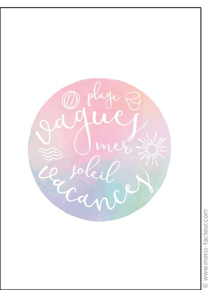 #carte #aout #vacances #piscine #plage #voyage #tourisme #relax #repos #soleil  Carte Les mots d'�t� pour envoyer par La Poste, sur Merci-Facteur !