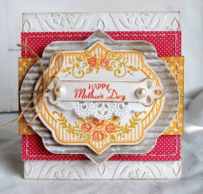 Michele Kovack has a full tutorial for direct to rubber Inking technique to create this Mother's Day card using JustRite Vintage Rose Medallions.